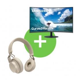 """[套裝]三星(Samsung) LC24T550FDCXXK 24"""" 1000R曲面顯示器 及 JABRA MOVE STYLE EDITION 無線頭帶式耳機"""