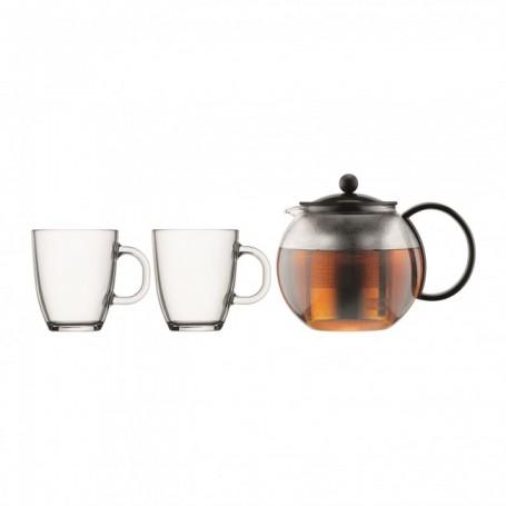 BODUM ASSAM 茶壺連不銹鋼濾網(1.0 公升) 連玻璃杯(2入) (0.35 公升) - 黑