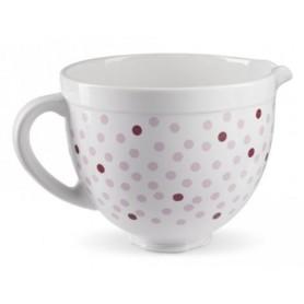 KITCHENAID 4.8L多功能廚師機粉紅色圓點陶瓷碗 (5KSMCB5NPD)
